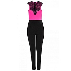 Quiz - Bright pink lace trim jumpsuit