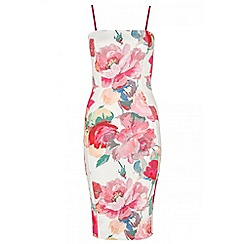 Quiz - Pink floral strap bodycon dress