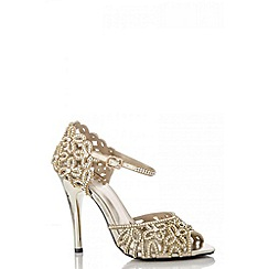 Quiz - Gold flower diamante sandals