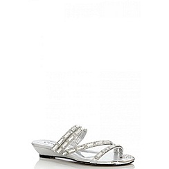 Quiz - Silver Diamante Strap Mule Sandals