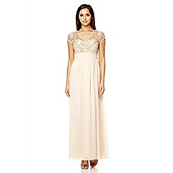 Quiz - Champagne chiffon embellished maxi dress