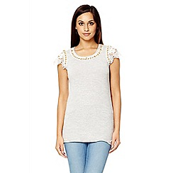 Quiz - Grey light knit lace cap sleeve top