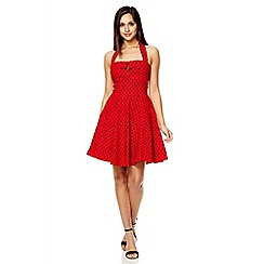 Quiz - Red polka dot halter neck skater dress