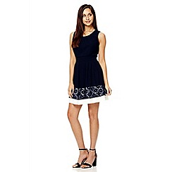 Quiz - Navy chiffon lace panel skater dress