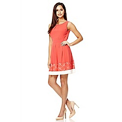 Quiz - Coral chiffon lace panel skater dress