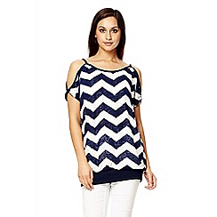 Quiz - Navy burnout lettered print top