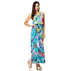 Quiz - Aqua Print Bubble Top Maxi Dress