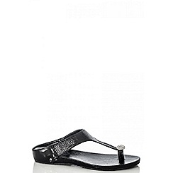 Quiz - Black Diamante Toe Ring Flat Sandals