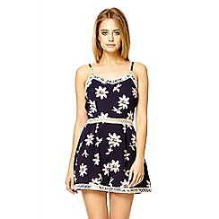 Quiz - Navy flower print crochet trim playsuit