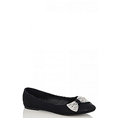 Quiz - Black Diamanté Shimmer Bow Pumps