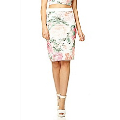 Quiz - Cream lace floral print midi skirt