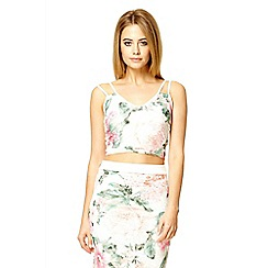 Quiz - Cream lace floral print double strap crop top