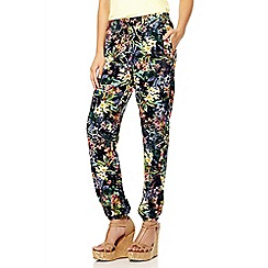 Quiz - Black Tropical Print Harem Trousers