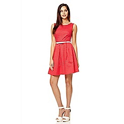 Quiz - Red polka dot pleat dress