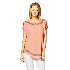 Quiz - Bright coral diamante oversized top