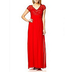 Quiz - Red chiffon embellished maxi dress