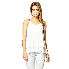 Quiz - Cream chiffon double layer cami top