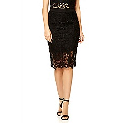 Quiz - Black lace zip back midi skirt