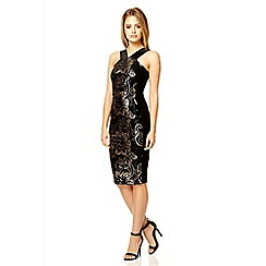 Quiz - Black velvet sequin v neck dress