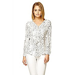 Quiz - White zip front print blouse