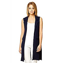 Quiz - Navy crepe long sleeveless blazer