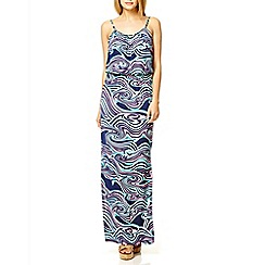 Quiz - Navy swirl print split sides maxi dress
