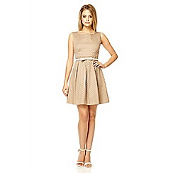 Quiz - Mocha polka dot pleat dress