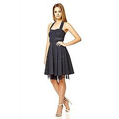 Quiz - Navy halter neck polka dot print dress