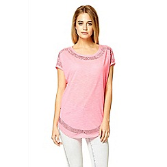 Quiz - Hot pink diamante oversized top