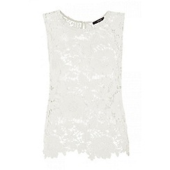 Quiz - Cream crochet sleeveless top