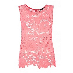 Quiz - Coral crochet sleeveless top