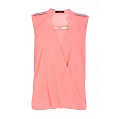 Quiz - Coral wrap over embellished shoulder blouse