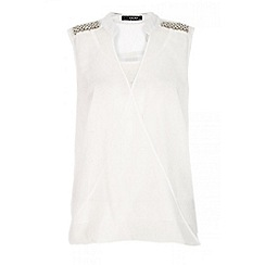 Quiz - Cream wrap over embellished shoulder blouse