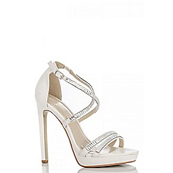 Quiz - White diamante strap sandals