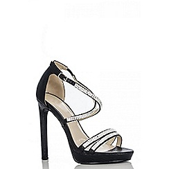 Quiz - Black diamante strap sandals