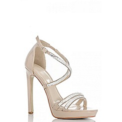 Quiz - Nude diamante strap sandals
