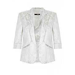 Quiz - Ivory silver shimmer jacquard blazer