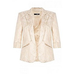 Quiz - Cream gold shimmer jacquard blazer