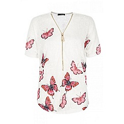 Quiz - White butterfly print zip front top