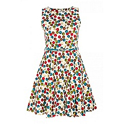 Quiz - White spot print belt dress