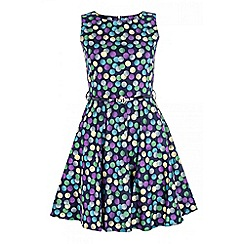 Quiz - Navy spot print belt dress