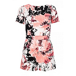 Quiz - Black crepe short sleeve print playsuit