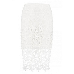 Quiz - White floral lace crocheted midi skirt