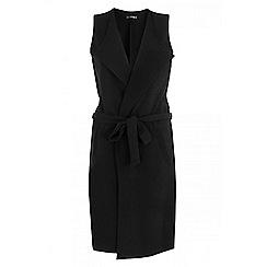 Quiz - Black waterfall tie belt waistcoat