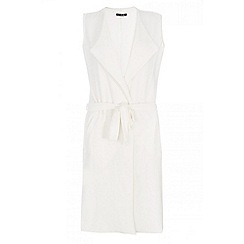 Quiz - Cream waterfall tie belt waistcoat
