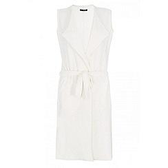 Quiz - Cream waterfall tie belt waistcoat