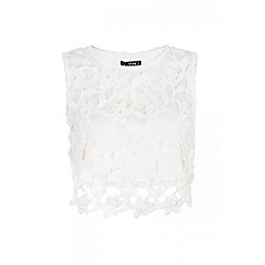 Quiz - White floral crochet sleeveless top