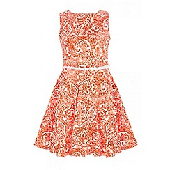 Quiz - Coral cotton paisley print skater dress