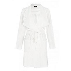 Quiz - Cream crepe waterfall long jacket