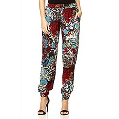 Quiz - Black paisley print cuff trousers